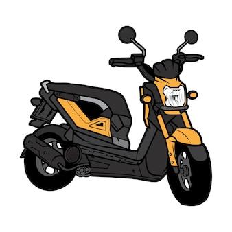 Skuter motocykl widok z tyłu kreskówka