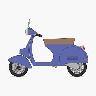 Skuter rocznika. motorower. mały motocykl retro. transport dwukołowy. ilustracja wektorowa.