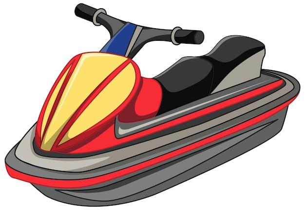 Skuter wodny lub łódź odrzutową w stylu kreskówka na białym tle