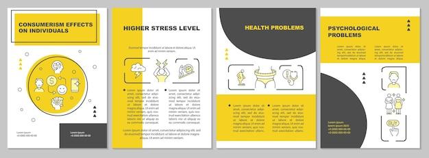 Skutki konsumpcjonizmu szablon żółtej broszury. kwestie emocjonalne. ulotka, broszura, druk ulotek, projekt okładki z liniowymi ikonami. układy wektorowe do prezentacji, raportów rocznych, stron ogłoszeniowych