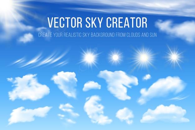 Sky creator. realistyczny zestaw chmur i słońca. elementy wystroju.