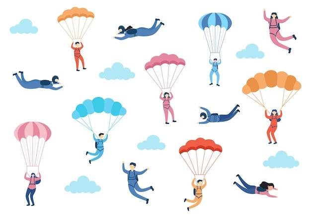 Skydive sport rekreacja na świeżym powietrzu ze spadochronem i skokiem wzwyż w sky air vector