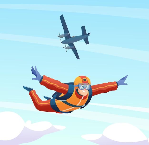 Skydiver skacze z samolotu i skacze na niebie ilustracja