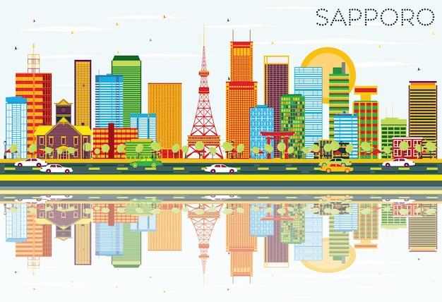 Skyline sapporo z kolorowymi budynkami, błękitnym niebem i odbiciami. ilustracja wektorowa. podróże służbowe i koncepcja turystyki z nowoczesną architekturą. obraz banera prezentacji i witryny sieci web.