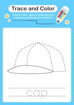 Ślad czapki i kolorowy przedszkolny ślad arkusza dla dzieci do ćwiczenia umiejętności motorycznych