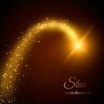 Ślad gwiazdy z cząsteczkami. ilustracja. magiczne światło