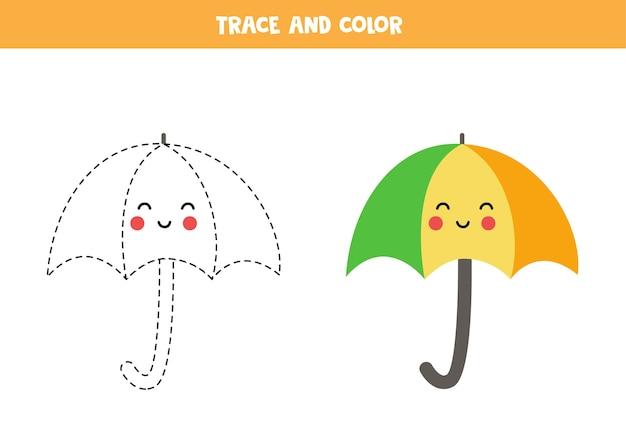 Ślad i pokoloruj uroczy parasol z kawaii. gra edukacyjna dla dzieci. praktyka pisania i kolorowania.