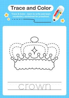 Ślad korony i kolorowy ślad arkusza dla dzieci w wieku przedszkolnym do ćwiczenia umiejętności motorycznych