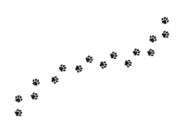 Ślad łapy kota, psa, szczeniaka. na białym tle sylwetka wektor.