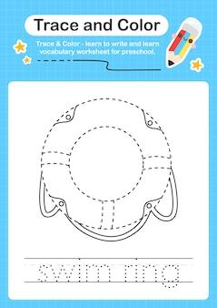 Ślad pierścienia pływackiego i kolorowy ślad arkusza dla dzieci w wieku przedszkolnym do ćwiczenia umiejętności motorycznych