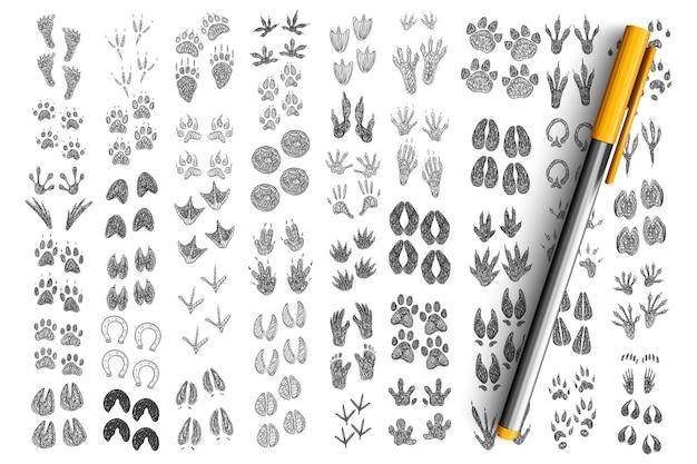 Ślady i odciski dłoni doodle zestaw. kolekcja ręcznie rysowane odciski stóp i dłoni idą do ludzi, ssaków, ptaków, zwierząt domowych, gadów na białym tle