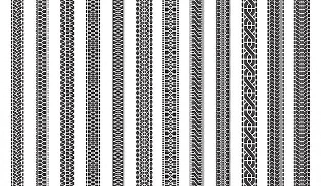 Ślady opon samochodowych. opony samochodowe ślady bieżnika, bieżniki tekstury opon, zestaw ilustracji symboli znaków opon pojazdu. wzór samochodu ciężarowego, nadruk bieżnika
