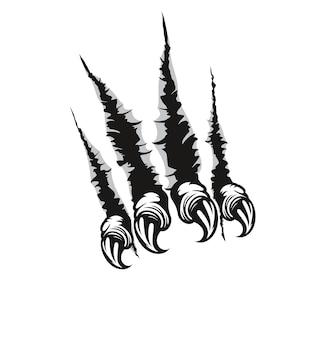 Ślady pazurów potwora i zadrapania