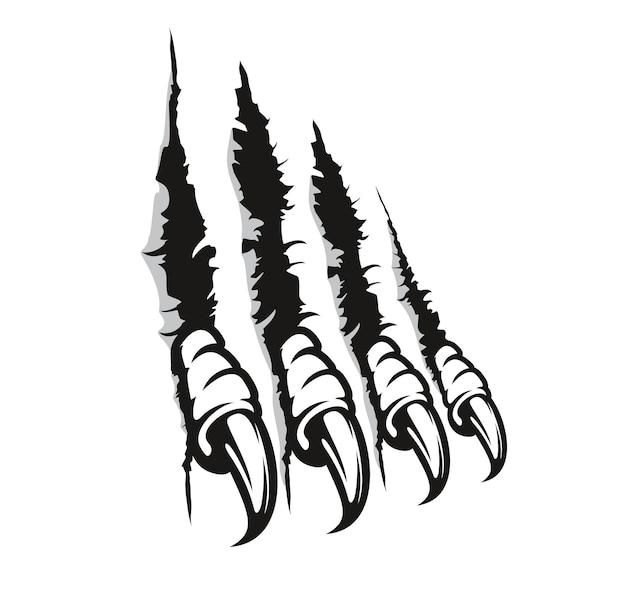 Ślady pazurów ptaków drapieżnych, zadrapania, palce potworów z długimi paznokciami