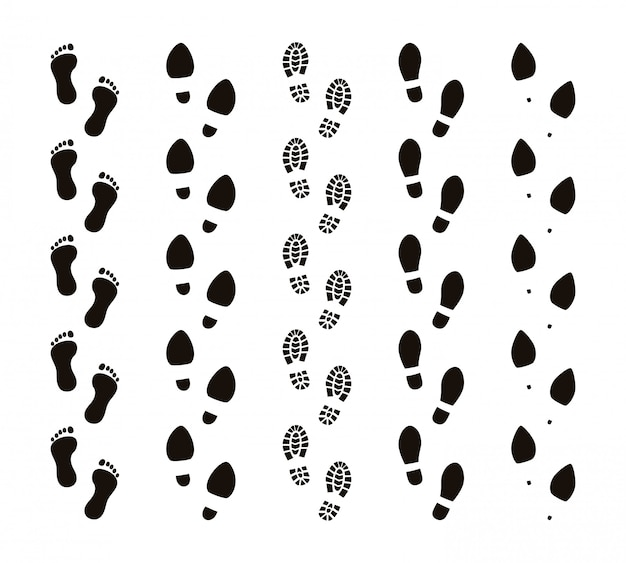 Ślady śladów. bosymi stopami, ludzkimi śladami, zabawnymi ludźmi, podążaj za koncepcją, czarne sylwetki. zestaw tras śladów