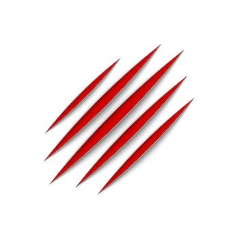 Ślady zadrapań zwierząt z czerwonymi pazurami. kot lub tygrys drapie kształt łapy. ślad czterech paznokci. ilustracja na białym tle