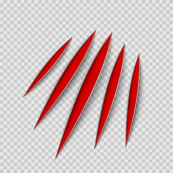 Ślady zadrapań zwierząt z czerwonymi pazurami. kot lub tygrys drapie kształt łapy. ślad czterech paznokci. ilustracja na przezroczystym tle