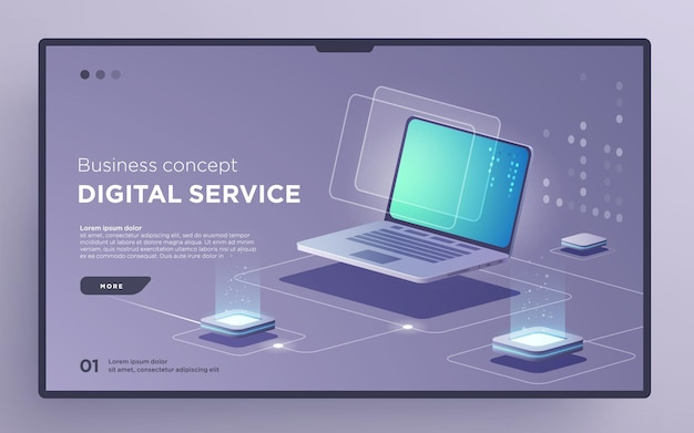 Slajdowa strona bohatera lub technologia cyfrowa baner usługa cyfrowa koncepcja biznesowa wektor izometryczny