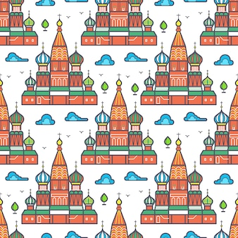 Sławny moskwa cathedrale bezszwowy deseniowy projekt - rosyjska punkt zwrotny tekstura. ilustracji wektorowych