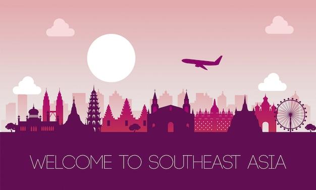 Sławny punkt orientacyjny południowo-wschodniej azji