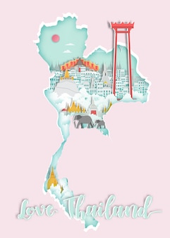 Sławny tajlandia punkt zwrotny na mapie dla podróż plakata