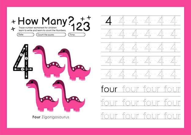 Śledź cyfry pisząc arkusze ćwiczeń i numery do nauki dla przedszkola numer cztery 4