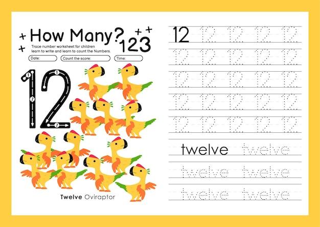 Śledź cyfry pisząc arkusze ćwiczeń i numery do nauki dla przedszkola numer dwanaście 12