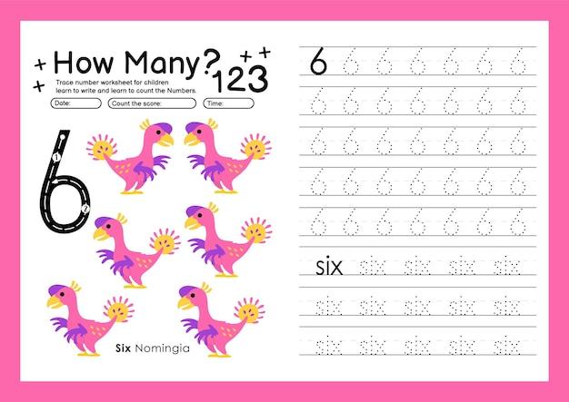 Śledź cyfry pisząc arkusze ćwiczeń i numery do nauki dla przedszkola numer szósty 6