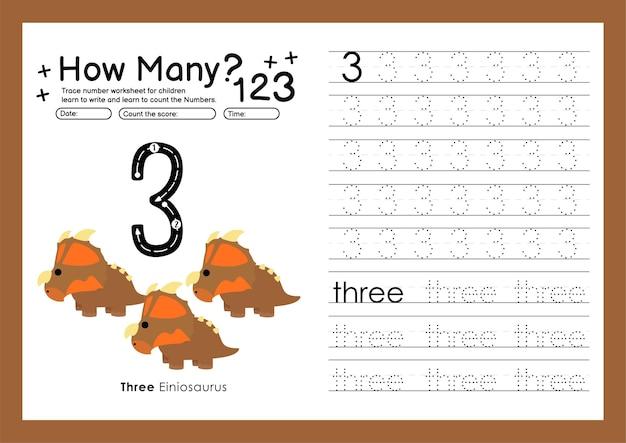 Śledź cyfry pisząc arkusze ćwiczeń i numery do nauki dla przedszkolaka numer trzy 3