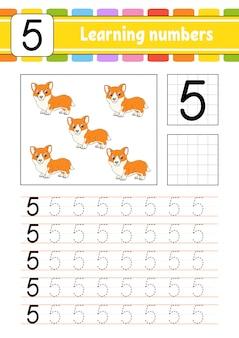 Śledź i pisz. praktyka pisma ręcznego. nauka liczb dla dzieci. arkusz rozwijający edukację. strona aktywności. odosobniona ilustracja w ślicznym kreskówka stylu.