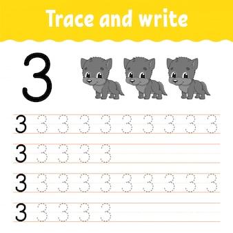 Śledź i pisz. praktyka pisma ręcznego. nauka liczb dla dzieci.