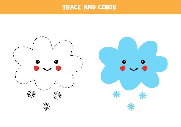 Śledź i pokoloruj chmurę kawaii ze śnieżną chmurą. gra edukacyjna dla dzieci. praktyka pisania i kolorowania.
