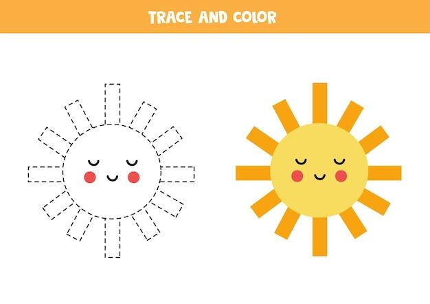 Śledź I Pokoloruj Słodkie Kawaii Sun. Gra Edukacyjna Dla Dzieci. Praktyka Pisania I Kolorowania. Premium Wektorów
