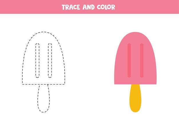 Śledź i pokoloruj słodkie różowe lody. gra edukacyjna dla dzieci. praktyka pisania i kolorowania.