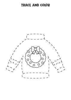 Śledź i pokoloruj uroczy świąteczny sweter. arkusz dla dzieci.