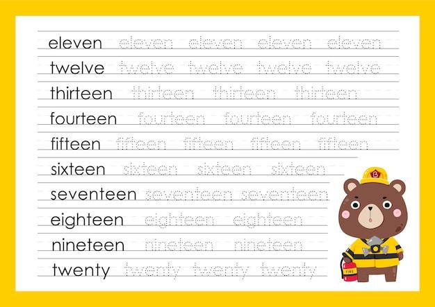 Śledź liczby pisząc ćwiczące arkusze dla przedszkolaków