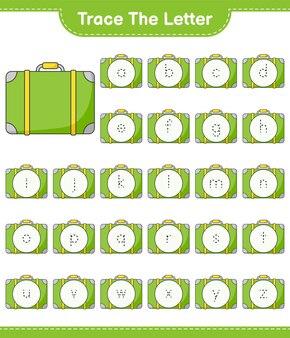 Śledź list. śledzenie listu z bagażem. gra edukacyjna dla dzieci, arkusz do druku, ilustracja wektorowa
