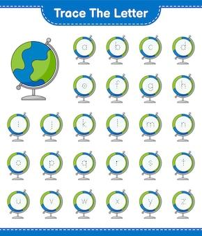 Śledź list. śledzenie listu z globe. gra edukacyjna dla dzieci, arkusz do druku, ilustracja wektorowa