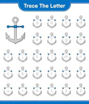Śledź list. śledzenie listu z kotwicą. gra edukacyjna dla dzieci, arkusz do druku, ilustracja wektorowa