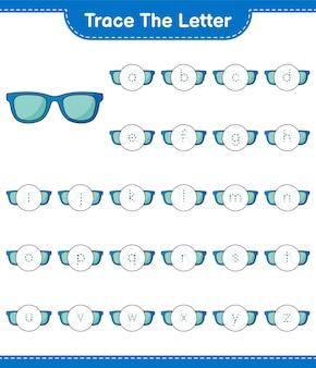 Śledź list. śledzenie listu z okularami przeciwsłonecznymi. gra edukacyjna dla dzieci, arkusz do druku, ilustracja wektorowa