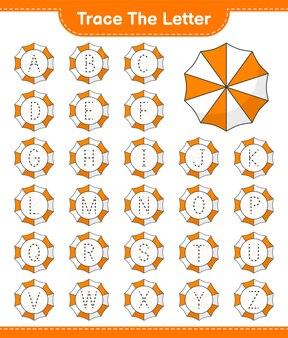 Śledź list śledzenie listu z parasolem plażowym edukacyjna gra dla dzieci do wydrukowania