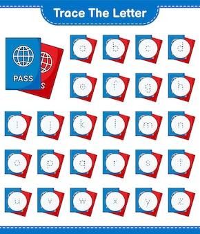 Śledź list. śledzenie listu z paszportem. gra edukacyjna dla dzieci, arkusz do druku, ilustracja wektorowa