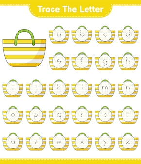 Śledź list. śledzenie listu z torbą plażową. gra edukacyjna dla dzieci, arkusz do druku, ilustracja wektorowa