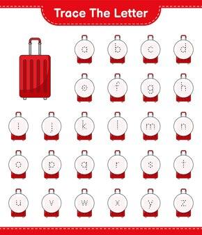 Śledź list. śledzenie listu z torbą podróżną. gra edukacyjna dla dzieci, arkusz do druku, ilustracja wektorowa