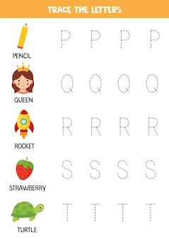 Śledź litery alfabetu angielskiego. praktyka pisma ręcznego dla dzieci w wieku przedszkolnym.