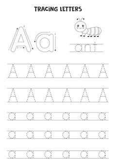 Śledź litery alfabetu angielskiego. wielkie i małe litery aa. praktyka pisma ręcznego dla dzieci w wieku przedszkolnym.