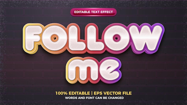 Śledź mnie w mediach społecznościowych 3d edytowalny efekt tekstowy