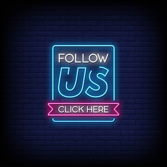 Śledź nas kliknij tutaj tekst w stylu neony