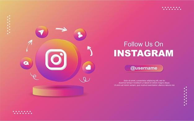 Śledź nas na instagramie w mediach społecznościowych w ikonach powiadomień z okrągłym okręgiem 3d