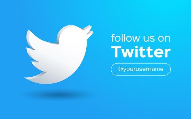 Śledź nas na twitterze baner społecznościowy ze stylem logo 3d